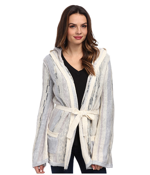 Chaser - Bell Sleeve Hooded Cardi (Stripe) Women's Sweater