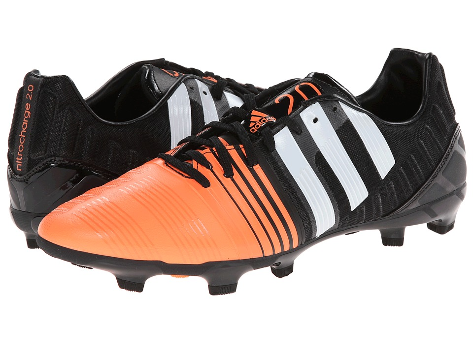 adidas - Nitrocharge 2.0 FG (Black/Core White/Flash Orange) Men's Soccer Shoes