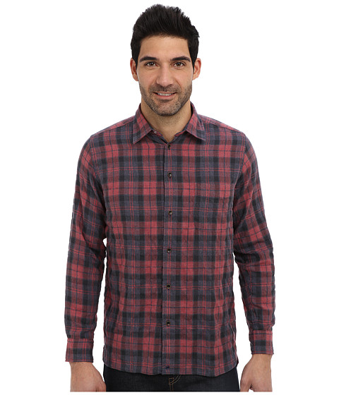 Agave Denim - Humboldt Herringbone Plaid L/S Shirt (Red) Men's Long Sleeve Button Up