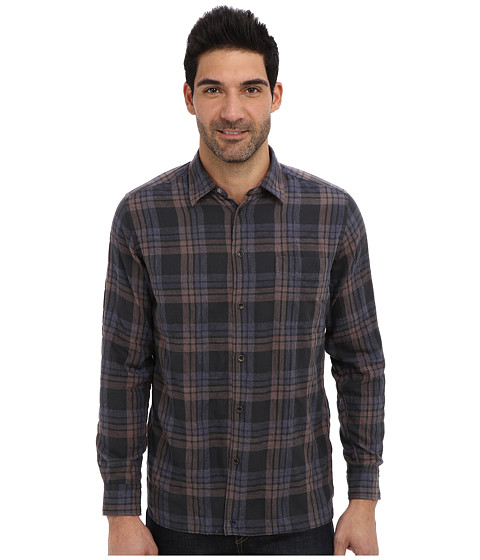Agave Denim - Humboldt Herringbone Plaid L/S Shirt (Black) Men's Long Sleeve Button Up