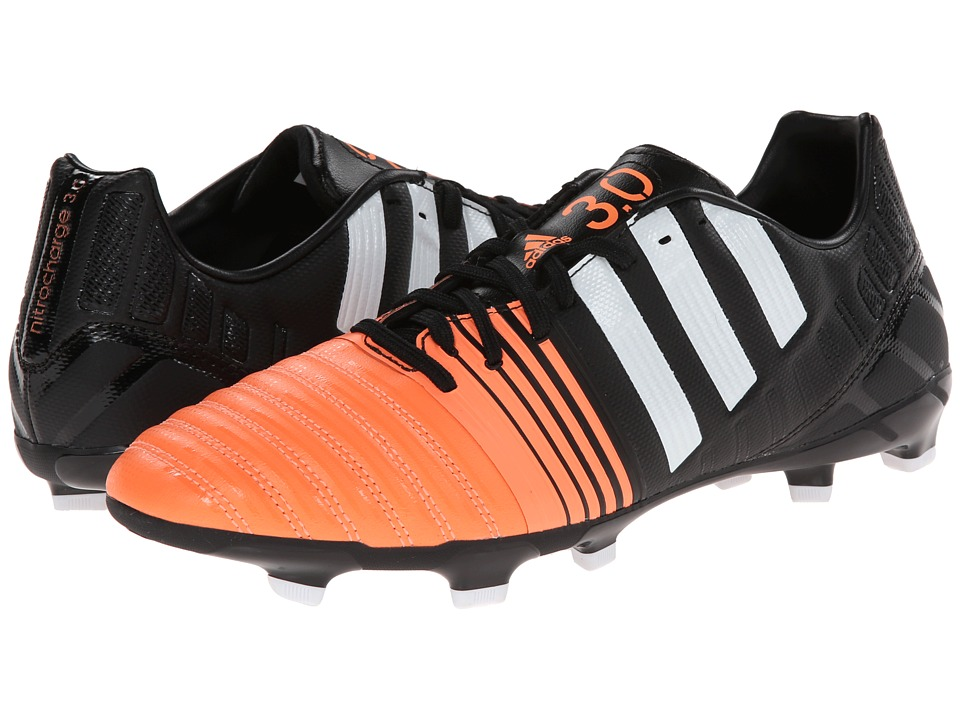 adidas - Nitrocharge 3.0 FG (Black/Core White/Flash Orange) Men's Soccer Shoes