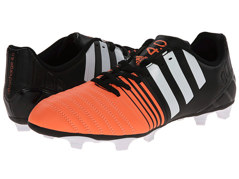 adidas - Nitrocharge 4.0 FG (Black/White/Flash Orange) Men's Soccer Shoes