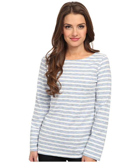Pendleton - Petite Time Off Stripe Tee (Blue Stripe) Women's Long Sleeve Pullover