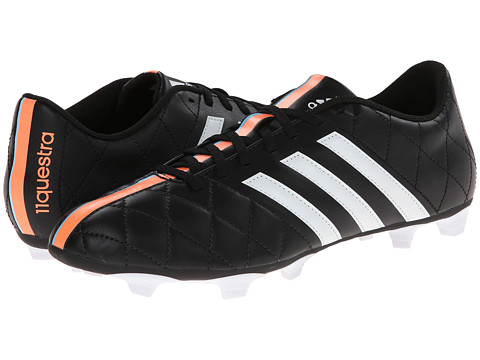 adidas - 11questra FG (Black/Core White/Flash Orange) Men's Soccer Shoes