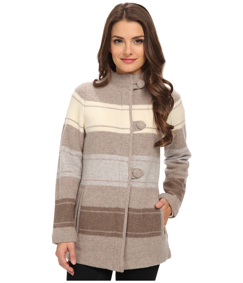 Pendleton - Petite Alpine Stripe Boiled Wool Cardigan (Fawn Heather Multi) Women's Coat