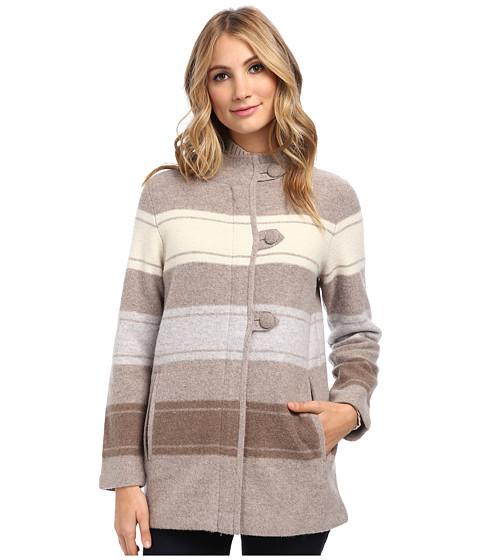 Pendleton - Alpine Stripe Boiled Wool Cardigan (Fawn Heather Multi) Women