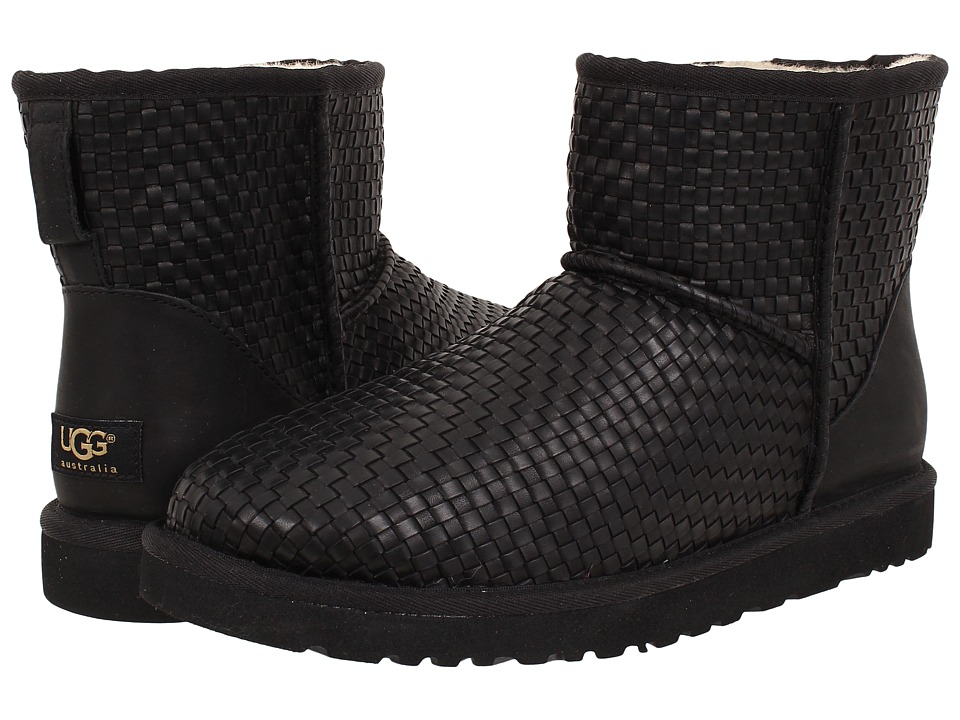 UGG - Classic Mini Woven (Black Leather) Men's Pull-on Boots