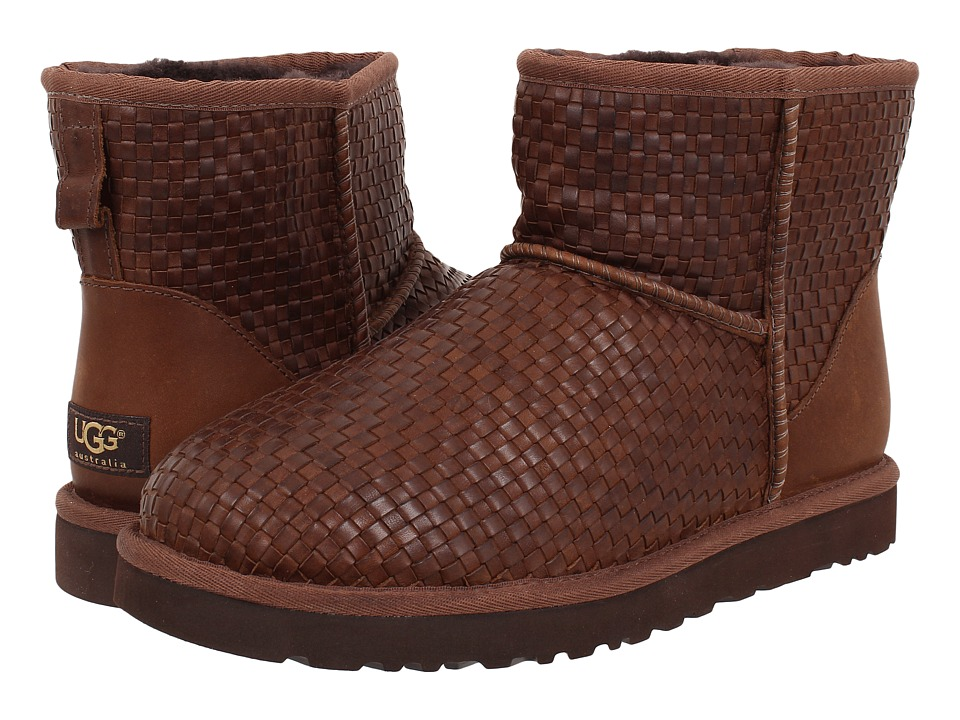 UGG - Classic Mini Woven (Cognac Leather) Men's Pull-on Boots