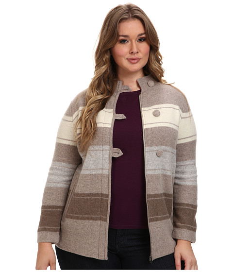 Pendleton - Plus Size Alpine Stripe Boiled Wool Cardigan (Fawn Heather Multi) Women