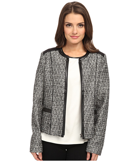 NYDJ Petite - Petite Metallic Leather Tweed Jacket (Black) Women