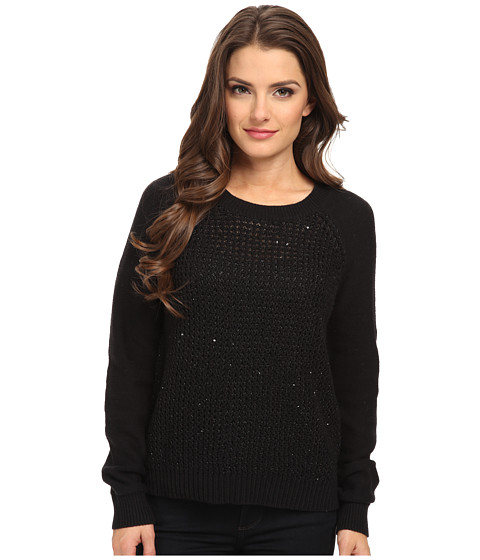 NYDJ Petite - Petite Key Item Sequin Sweater (Black) Women