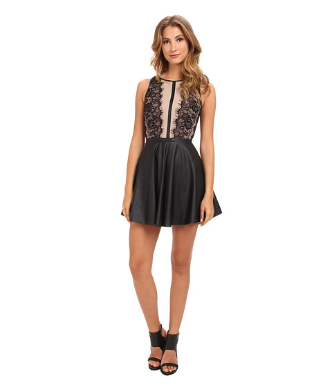 DOUBLE ZERO - Rimi Lace Front Dress (Taupe) Women