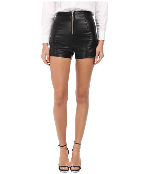 LOVE Moschino - Leather Zip Front Shorts (Black) Women's Shorts