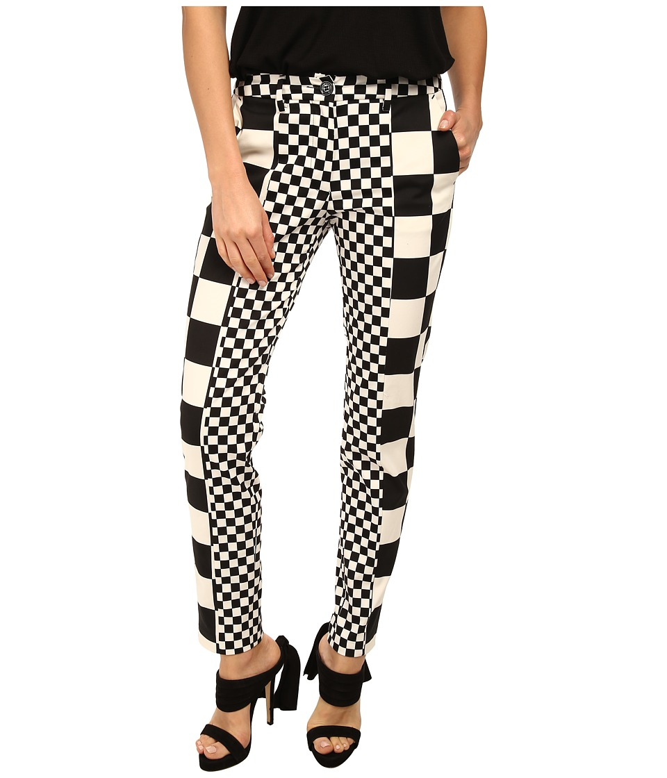 LOVE Moschino - Checker Print Pant (Black/White) Women's Casual Pants
