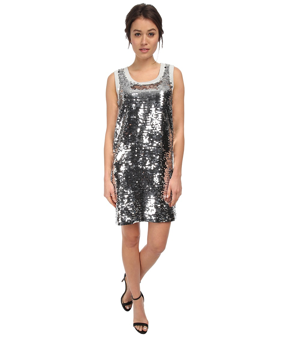 LOVE Moschino - Sleeveless Sequin Tank Dress (Silver) Women's Dress