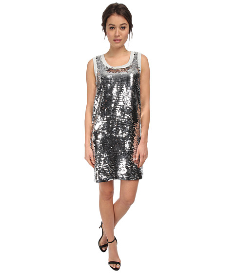 LOVE Moschino - Sleeveless Sequin Tank Dress (Silver) Women