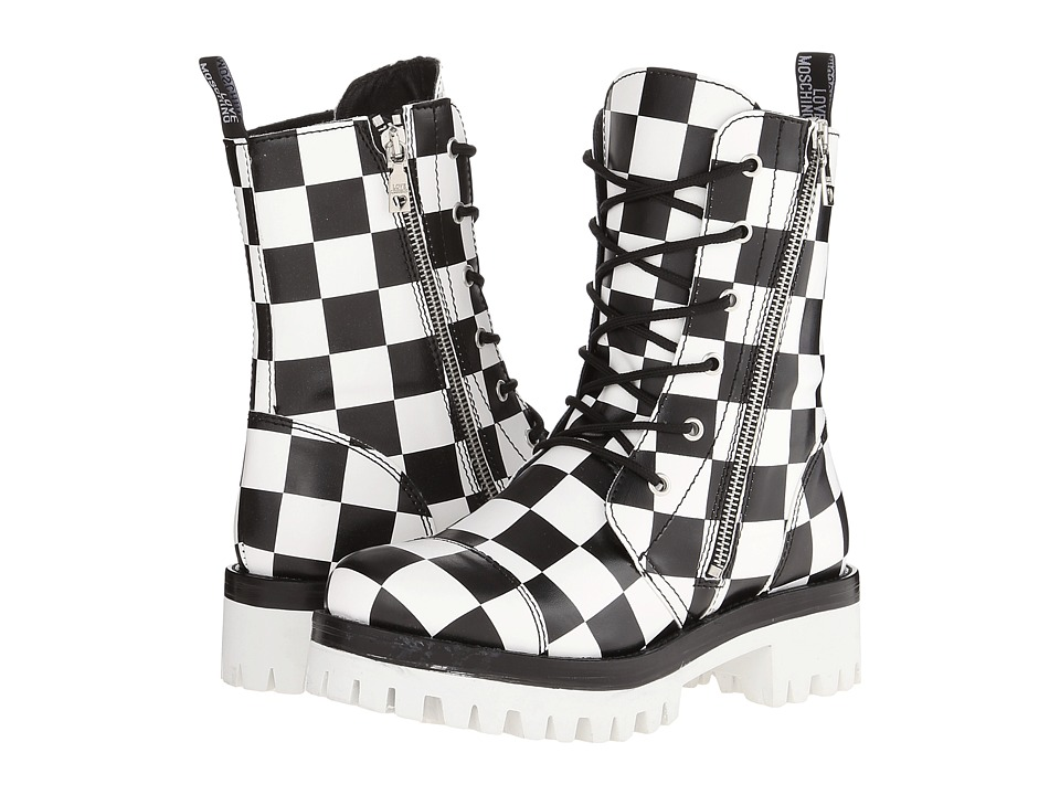 LOVE Moschino - Checker Print Combat Boot (Black/White) Women's Boots