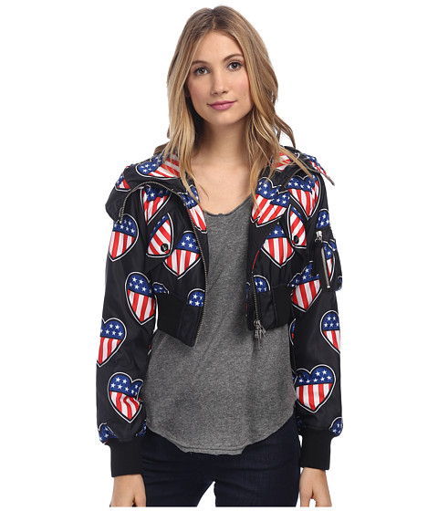LOVE Moschino - Heart Print Bomber (Black/Multi) Women's Coat