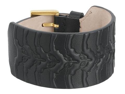 Alexander McQueen - Rib Cage Leather Cuff Bracelet (Black) Bracelet