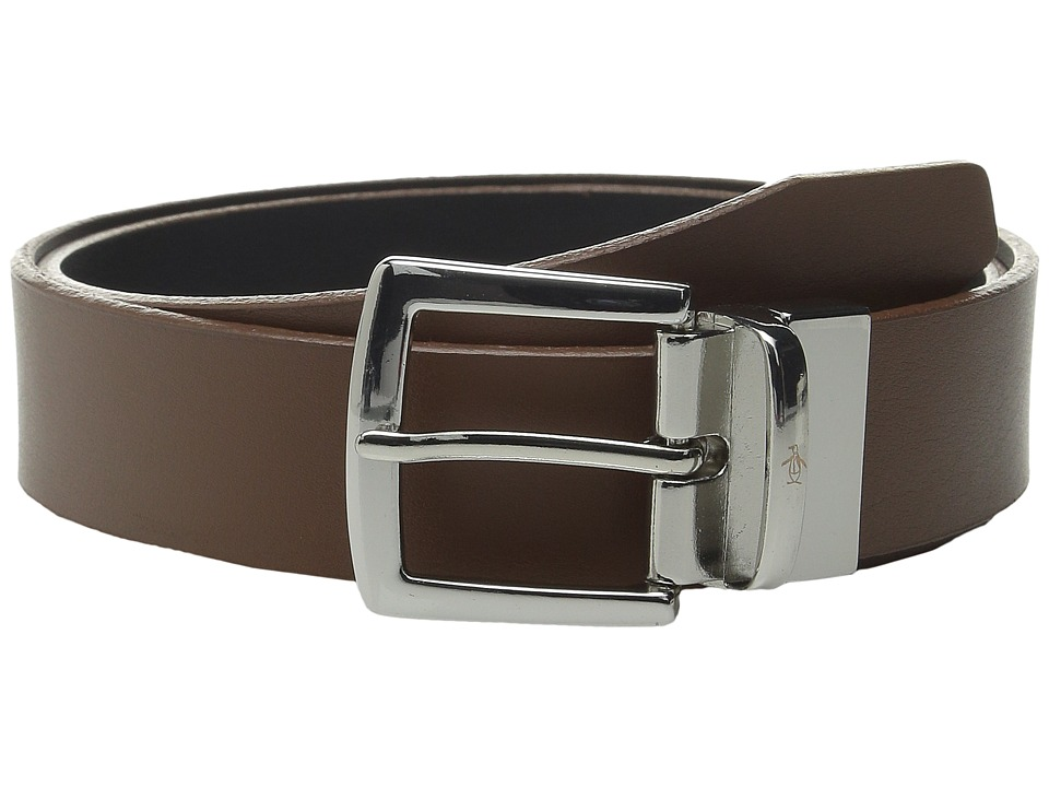 Original Penguin - Reversable Leather Dress Belt (Brown) Men's Belts