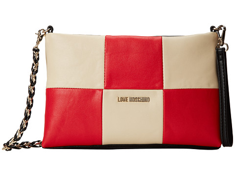LOVE Moschino - Patchwork Shoulder Bag (Avorio/Rosso/Nero) Shoulder Handbags