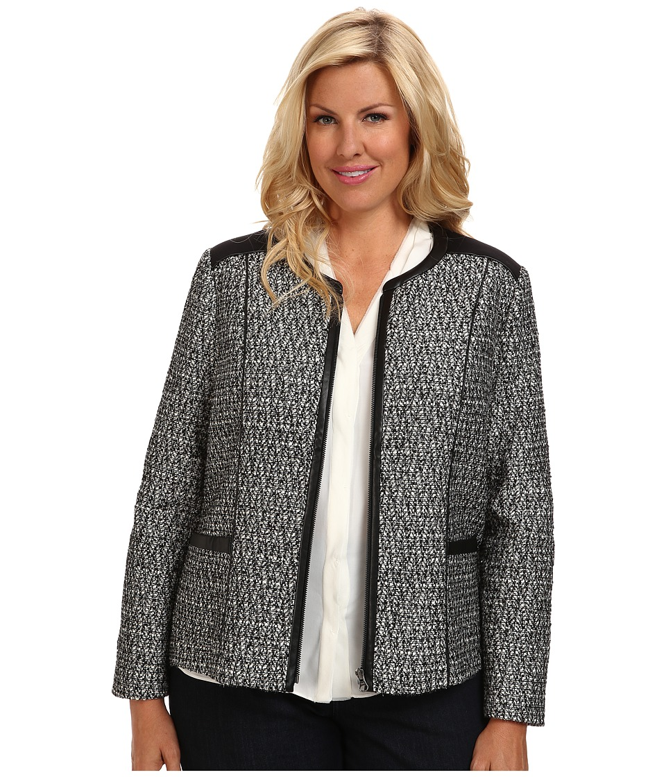 NYDJ Plus Size - Plus Size Metallic Leather Tweed Jacket (Black) Women's Jacket