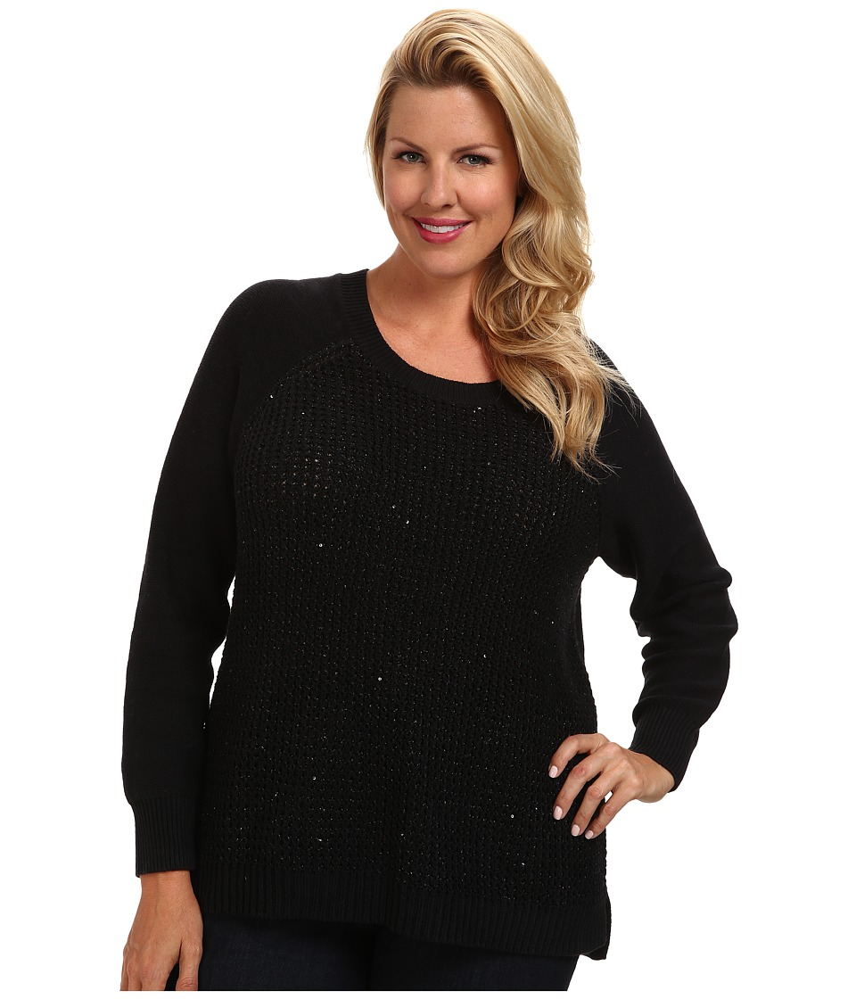 NYDJ Plus Size - Plus Size Key Item Sequin Sweater (Black) Women's Sweater plus size,  plus size fashion plus size appare