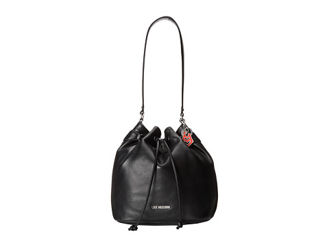 LOVE Moschino - Logo Charm Bucket Bag (Black) Shoulder Handbags