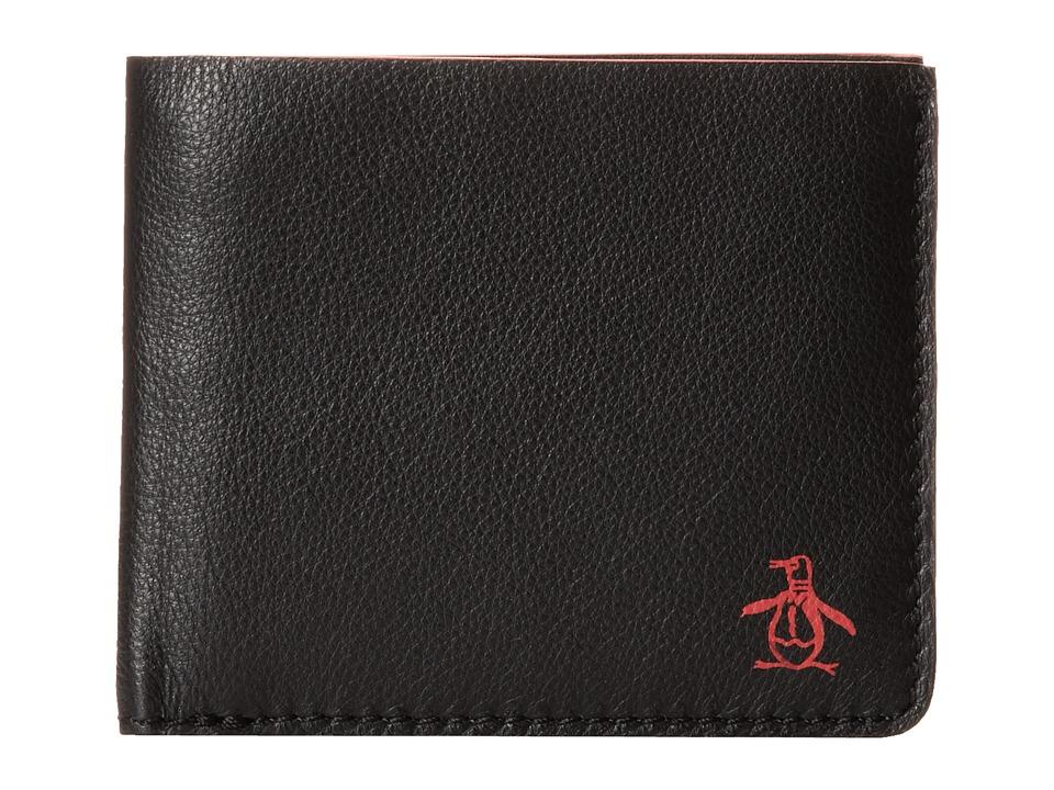 Original Penguin - Printed Single Fold Wallet (Black) Wallet Handbags