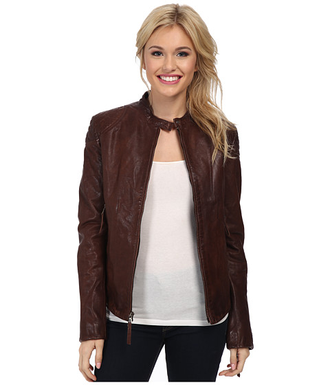 Stetson - Smooth Leather Jacket w/ Zipper Cuffs (Brown) Women