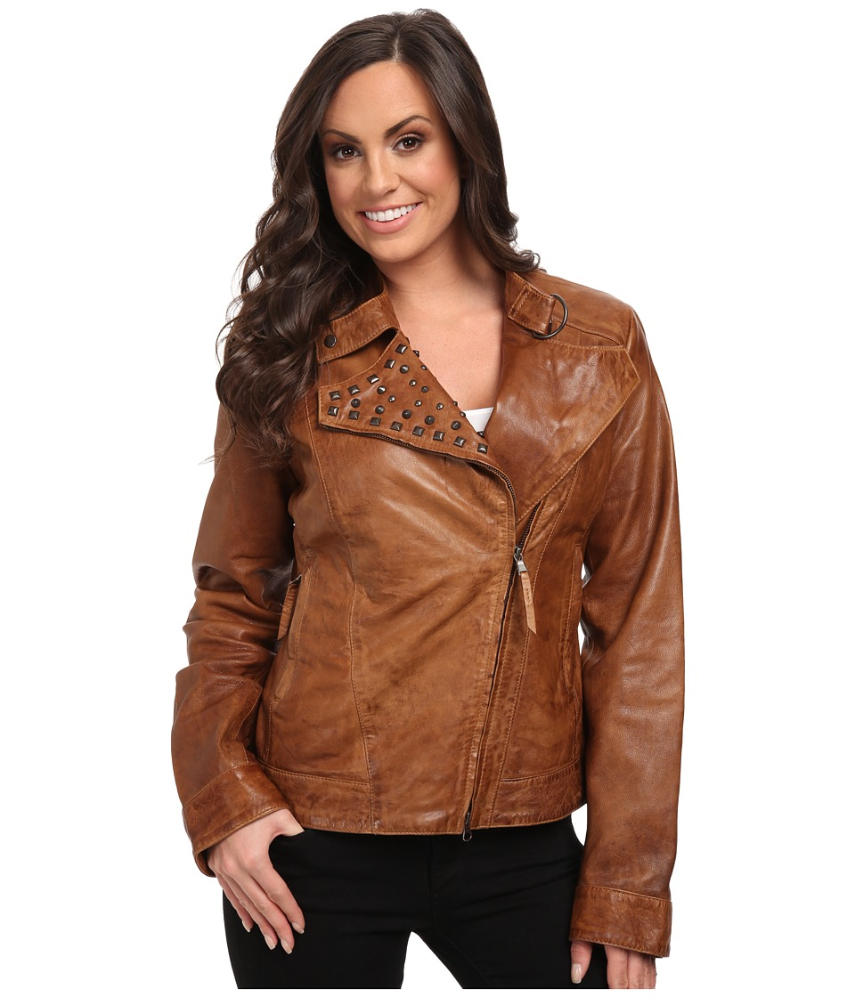 Stetson - Smooth Leather w/ Studded Lapel (Brown) Women's Coat
