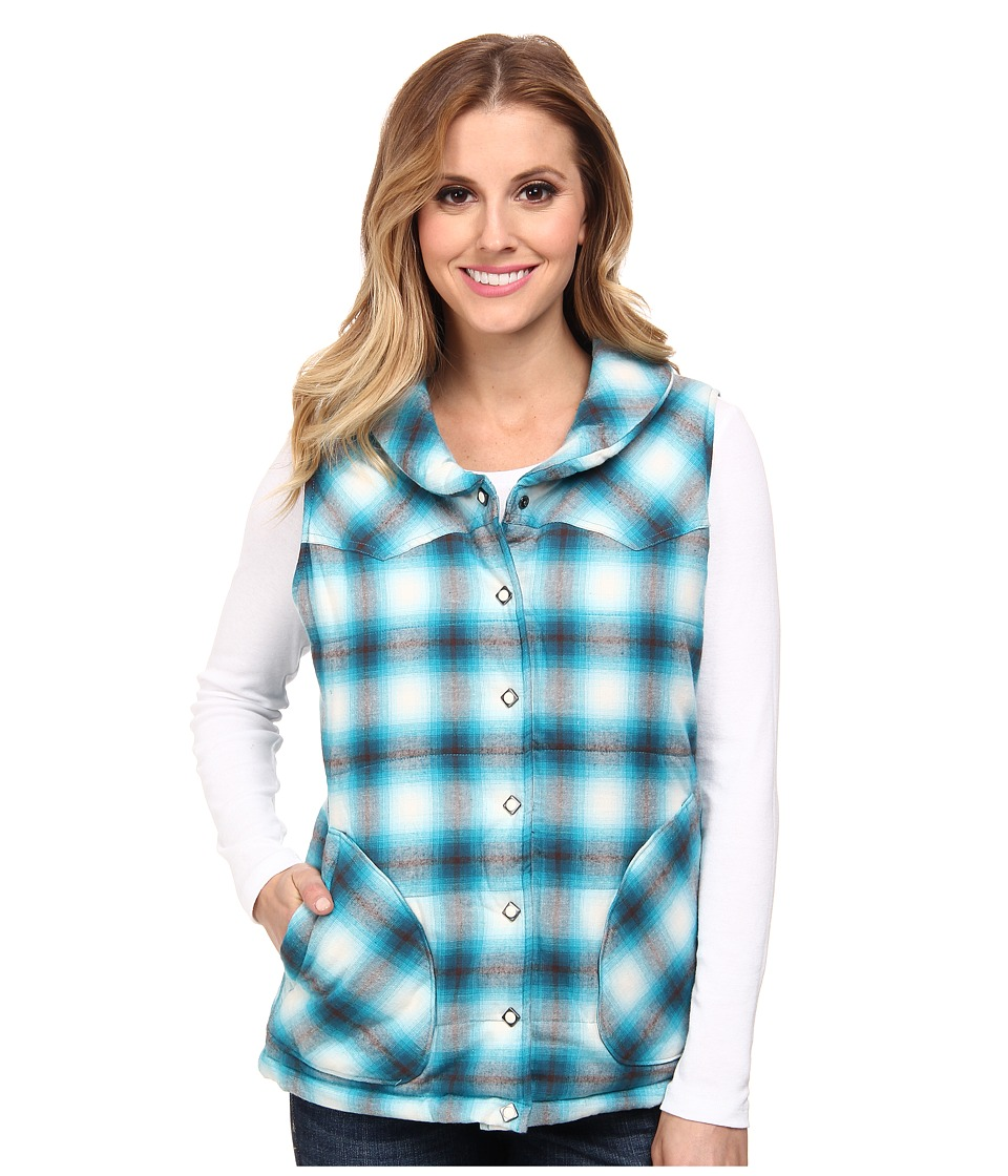 Stetson - 9318 Love Plaid Brush Twill Quilted Vest (Blue) Women's Vest