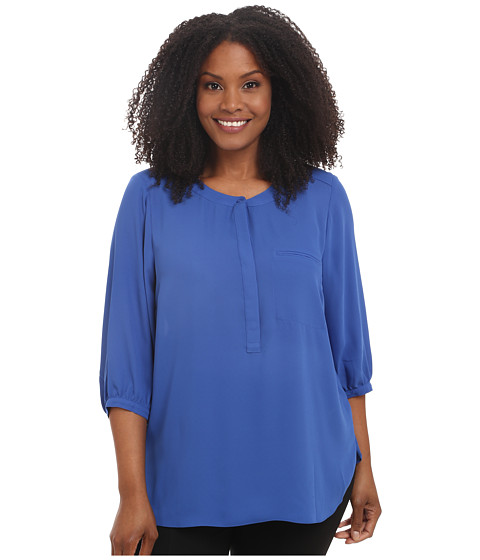 NYDJ Plus Size - Plus Size Solid 3/4 Sleeve Pleat Back (Azul) Women's Long Sleeve Pullover