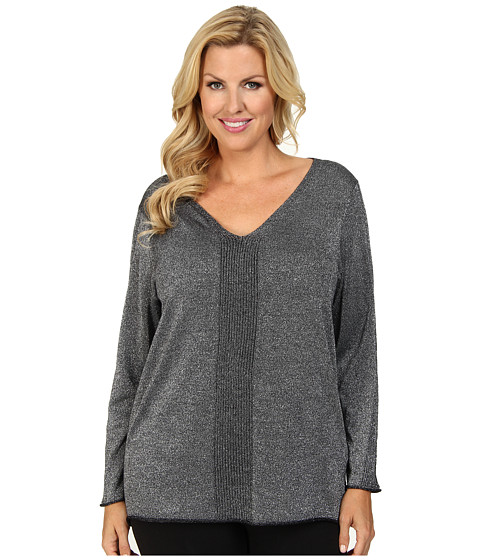 NYDJ Plus Size - Plus Size Metallic Sweater (Black) Women's Sweater