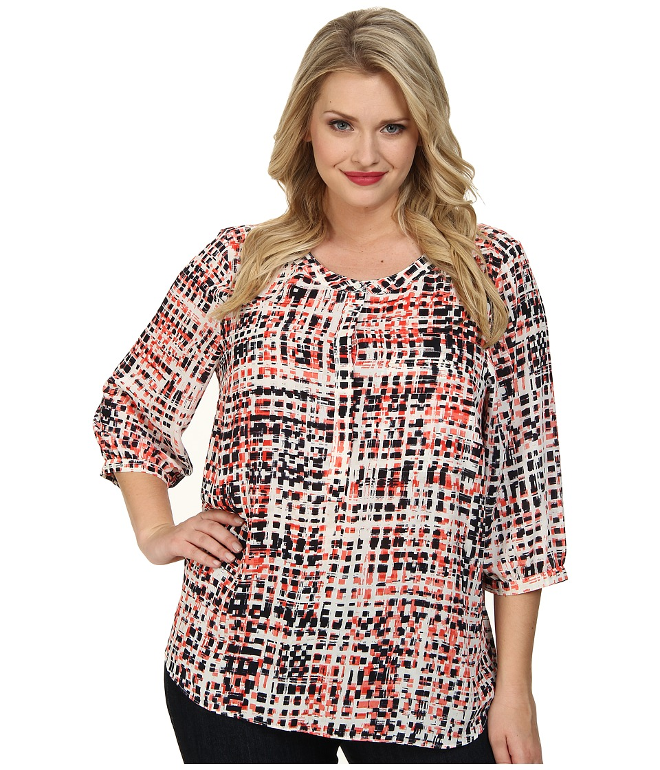 NYDJ Plus Size - Plus Size Abstract Digital Print Pleat Back (Multi) Women's Blouse