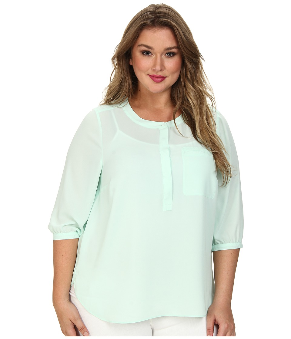 NYDJ Plus Size - Plus Size Solid 3/4 Sleeve Pleat Back (Celedon) Women's Long Sleeve Pullover