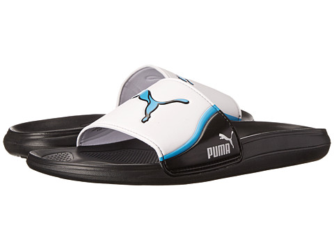 PUMA - Cat Slide Team Slide (Black/White/Hawaiian Ocean) Men's Sandals