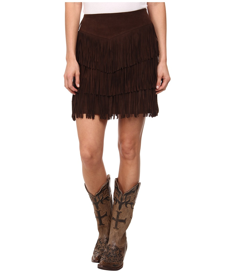 Stetson - Pig Suede Fringe Skirt (Brown) Women's Skirt