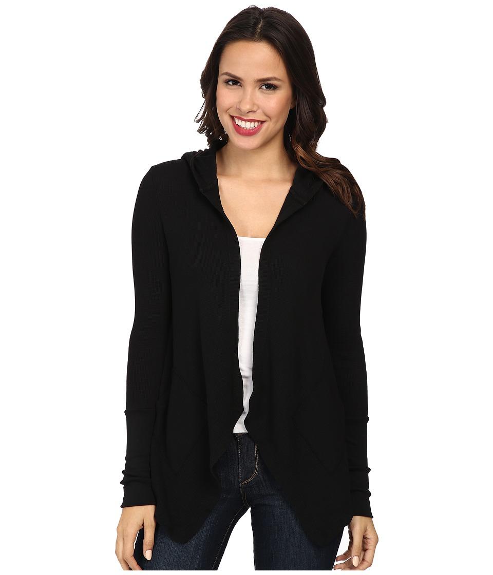Mod-o-doc - Cotton Modal Thermal Hooded Cardigan (Black) Women's Sweater