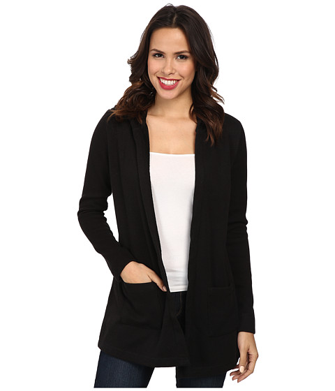 Mod-o-doc - Minky Sweater Rib Hooded Cardigan (Black) Women's Sweater