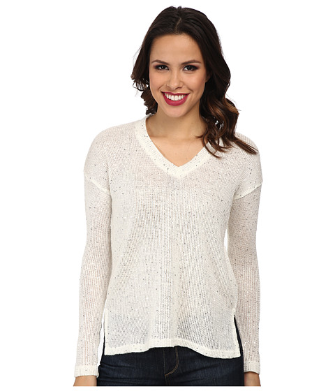 Mod-o-doc - Sequin Sweater Knit V-Neck Pullover (White) Women's Long Sleeve Pullover