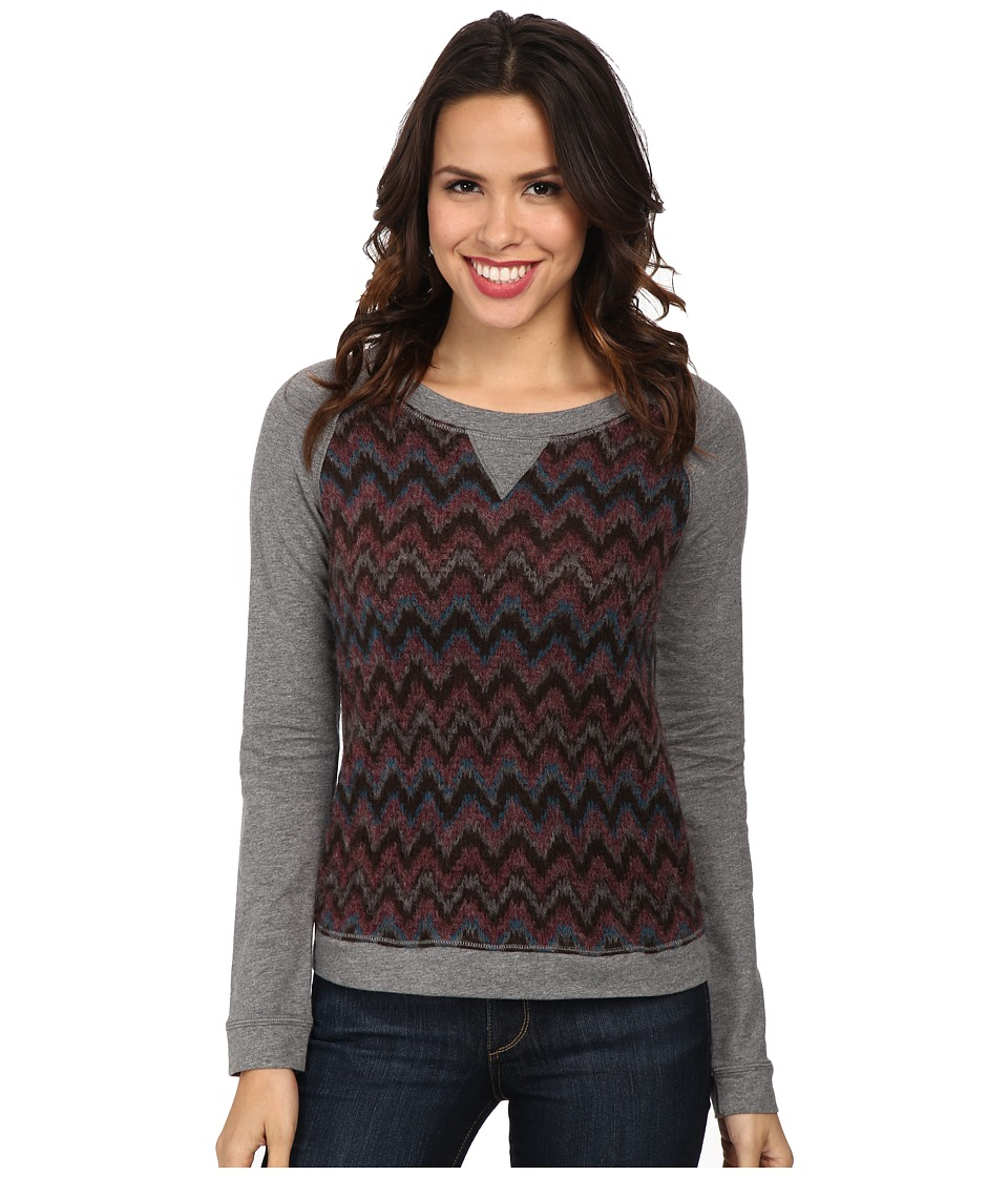 Mod-o-doc - Chevron Sweater Stripe Raglan Sleeve Scoopneck Pullover (Garland) Women's Long Sleeve Pullover