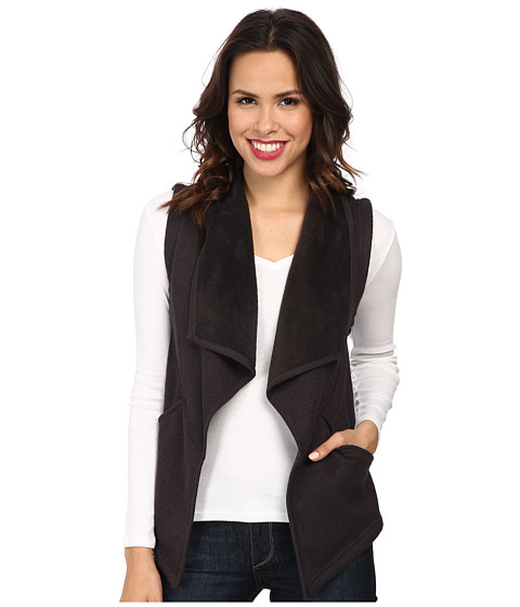 Mod-o-doc - Minky Sweater Rib Seamed Drape Collar Vest (Grey) Women's Sweater