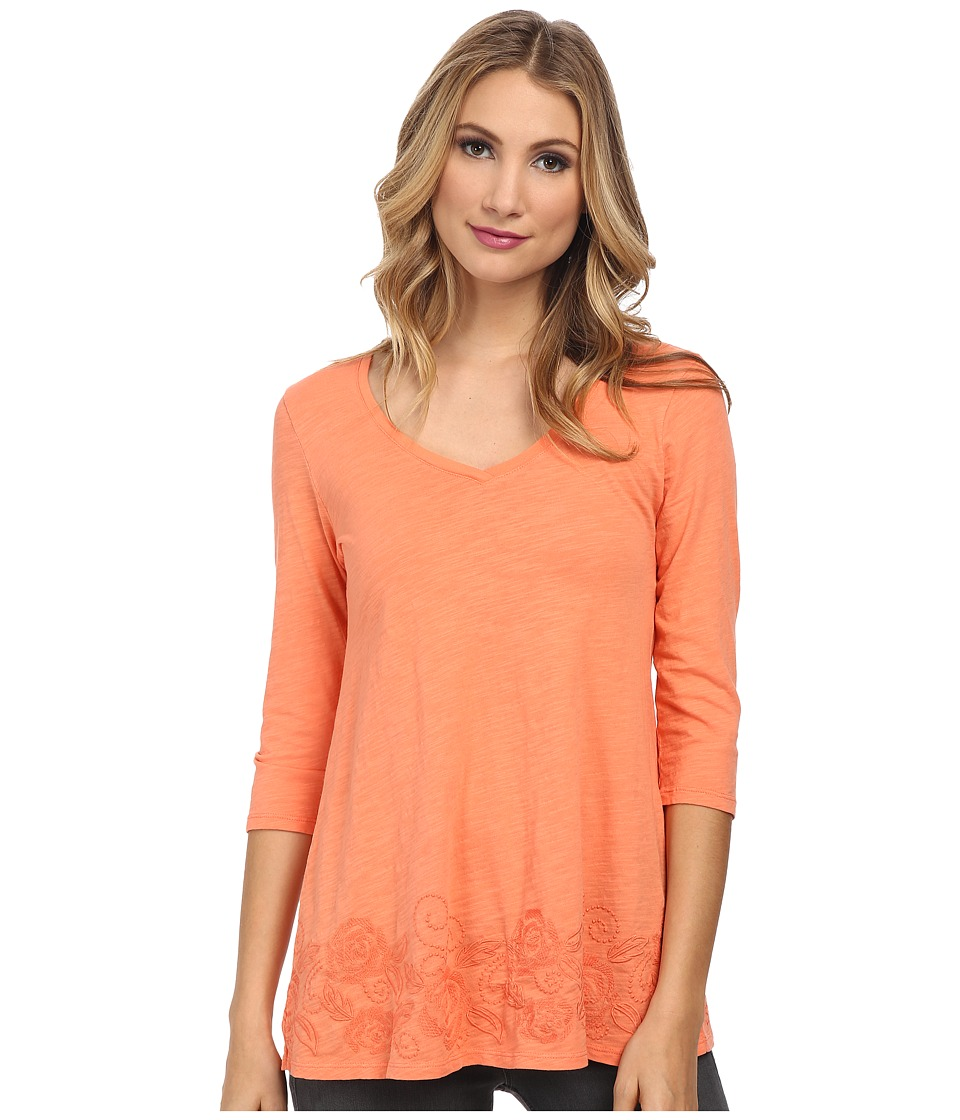 Mod-o-doc - Slub Jersey Embroidered V-Neck Tunic (Marmalade) Women's Blouse