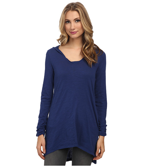 Mod-o-doc - Slub Jersey Pullover Hooded Tunic (Deep Sea) Women's Blouse
