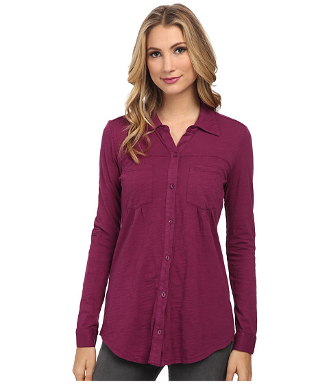 Mod-o-doc - Slub Jersey Button Front Tunic (Garland) Women's Long Sleeve Button Up