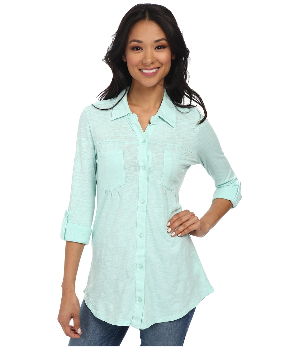 Mod-o-doc - Slub Jersey Button Front Tunic (Wintergreen) Women's Long Sleeve Button Up