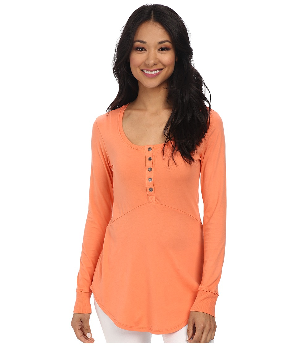 Mod-o-doc - Supreme Jersey Long Sleeve Henley Tunic (Marmalade) Women's Long Sleeve Pullover