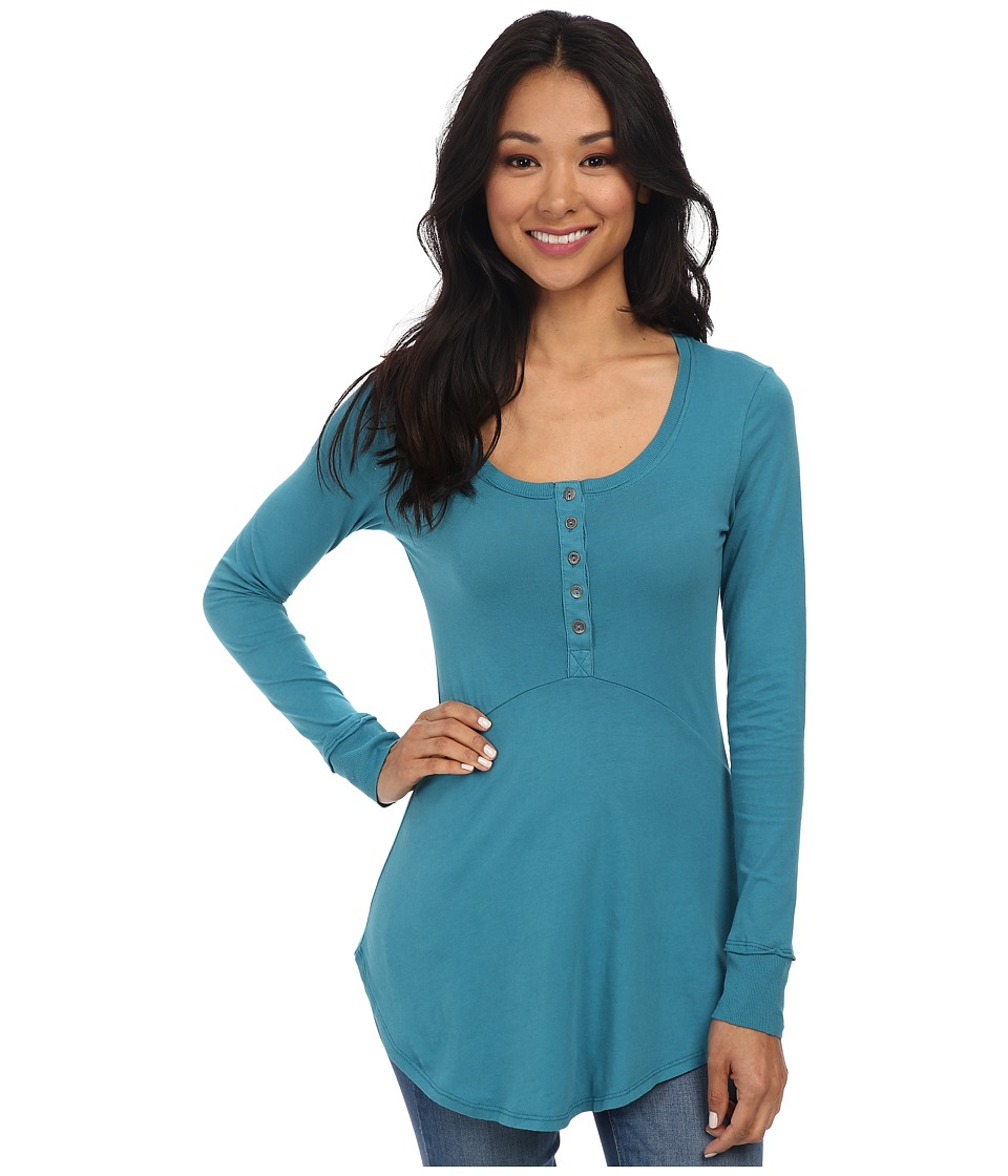 Mod-o-doc - Supreme Jersey Long Sleeve Henley Tunic (Teal Harbor) Women's Long Sleeve Pullover