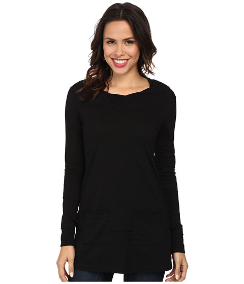 Mod-o-doc - Classic Jersey Twisted Collar Tunic (Black) Women's Long Sleeve Pullover